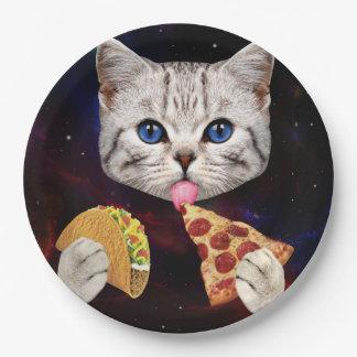 Prato De Papel Gato do espaço com taco e pizza