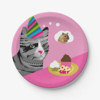 Prato De Papel Gato do feliz aniversario com cupcakes