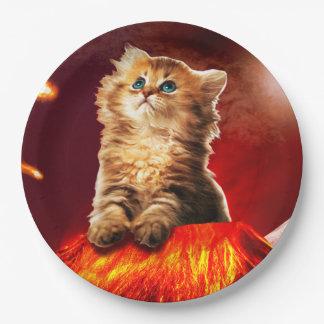 Prato De Papel gato do vulcão, gato vulcan,