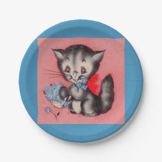 Prato De Papel gato doce do gatinho