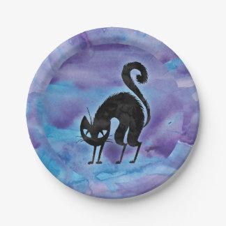 Prato De Papel Gato roxo do Dia das Bruxas do preto da cor de