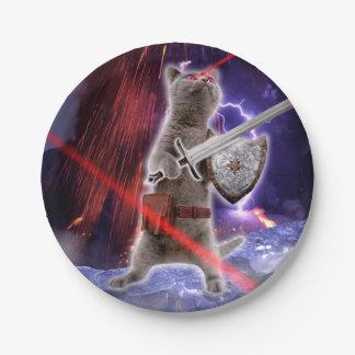 Prato De Papel gatos do guerreiro - gato do cavaleiro - laser do