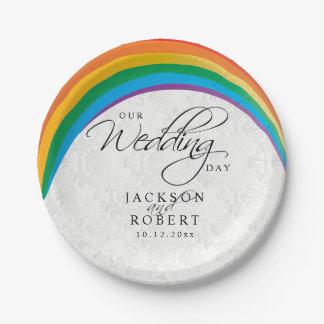 Prato De Papel Gay do arco-íris - nosso dia do casamento