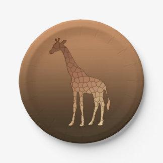 Prato De Papel Girafa, cobre e Brown geométricos modernos