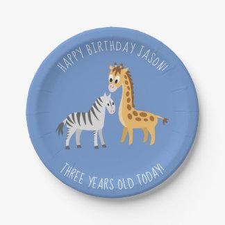 Prato De Papel Girafa e zebra do partido de aniversário de 3 anos
