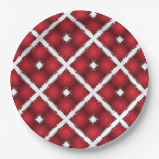 Prato De Papel Globos vermelhos, teste padrão retro dos Rhombuses