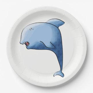 Prato De Papel Golfinho azul
