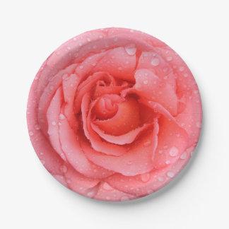 Prato De Papel Gotas cor-de-rosa vermelhas românticas da água