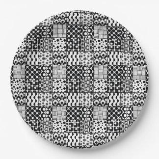 Prato De Papel Grade dos padrões geométricos preto e branco, 01