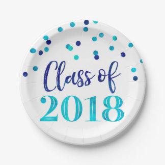 Prato De Papel Graduação azul 2018 dos confetes da aguarela