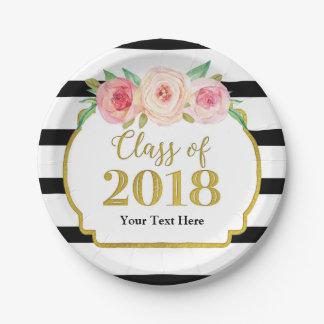 Prato De Papel Graduação floral 2018 do ouro da aguarela