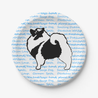 Prato De Papel Gráficos do Keeshond - arte original bonito do cão