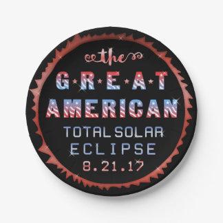 Prato De Papel Grande eclipse solar 21 de agosto de 2017 total