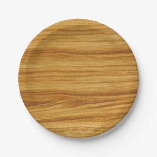 Prato De Papel Grão de madeira clara
