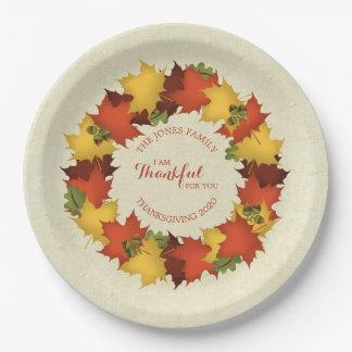 Prato De Papel Grinalda da acção de graças das folhas de outono