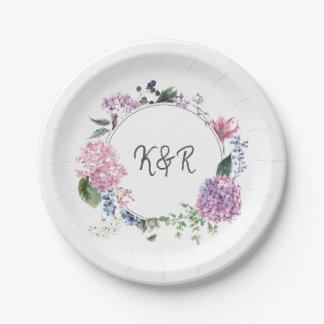 Prato De Papel Grinalda da flor do Hydrangea que wedding o