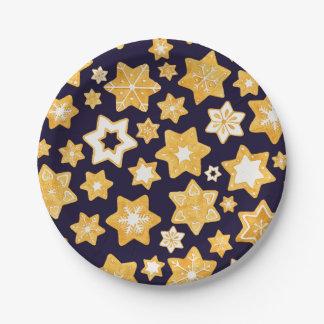 Prato De Papel Grinalda do biscoito do Natal com fundo dos azuis