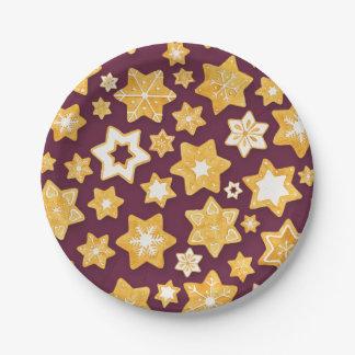 Prato De Papel Grinalda do biscoito do Natal com fundo profundo