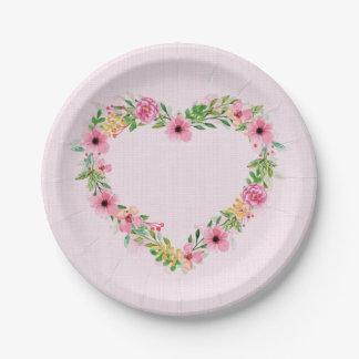 Prato De Papel Grinalda floral cor-de-rosa dada forma coração