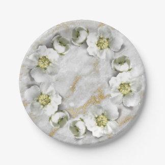 Prato De Papel Grinalda floral real da pedra do ouro do mármore