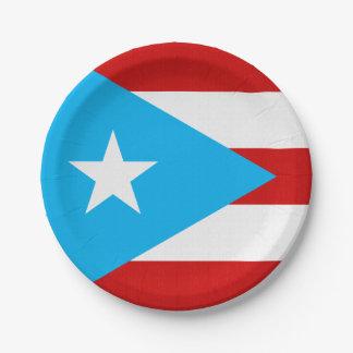 Prato De Papel Guardanapo da bandeira de Puerto Rico dos azul-céu