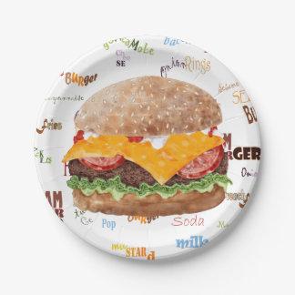 Prato De Papel Hamburger com o comensal do fast food do CHURRASCO