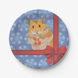 Prato De Papel Hamster do Natal dos flocos de neve