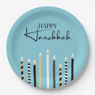 Prato De Papel Hanukkah feliz moderno Candles as placas de papel