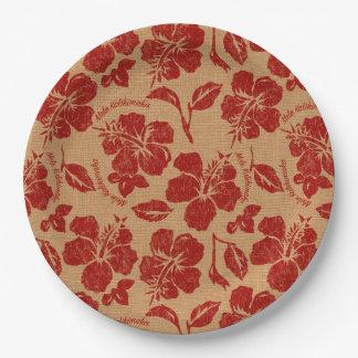 Prato De Papel Hibiscus do Hawaiian de Pareau do vintage de Mele