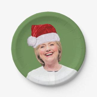 Prato De Papel Hillary Claus - mágica da festa natalícia - placa