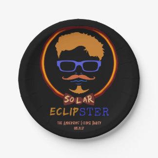 Prato De Papel Hipster engraçado eclipse solar do 21 de agosto de
