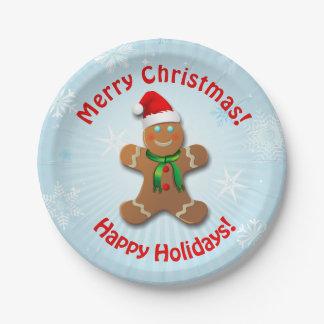 Prato De Papel Homem de pão-de-espécie com chapéu do Natal