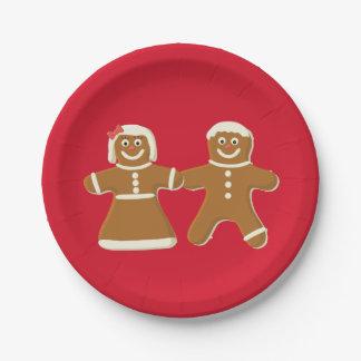 Prato De Papel Homem e mulher de pão-de-espécie no vermelho