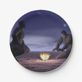 Prato De Papel Homo erectus e fogo - 3D rendem
