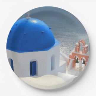 Prato De Papel Igreja de Santorini na tarde Sun