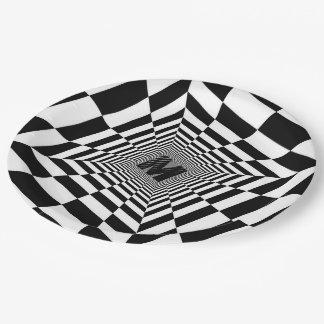 Prato De Papel Ilusão, monograma ou Initia visual preto & branco