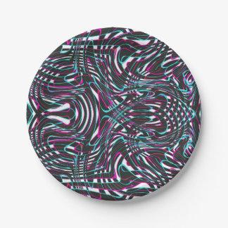 Prato De Papel Ilusão óptica das listras onduladas roxas