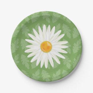 Prato De Papel Ilustração da flor da margarida em um fundo verde
