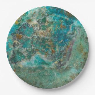 Prato De Papel Imagem de pedra azul de Chrysocolla