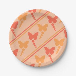 Prato De Papel Impressão alaranjado cor-de-rosa das listras dos
