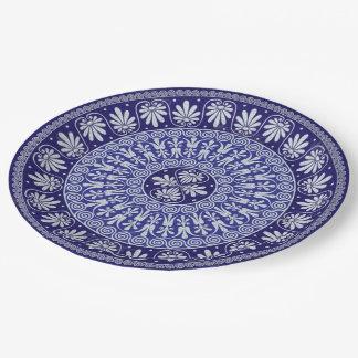Prato De Papel Impressão boémio azul