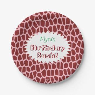 Prato De Papel Impressão do girafa de Brown da cor da picareta de