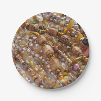 Prato De Papel Impressão natural da miçanga de Earthtones das