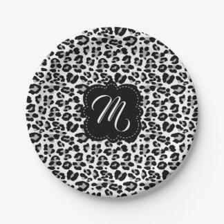 Prato De Papel Impressão preto e branco do leopardo com monograma