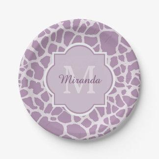 Prato De Papel Impressão roxo chique do girafa com monograma e