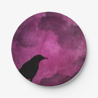 Prato De Papel Impressões assustadores do corvo do Dia das Bruxas