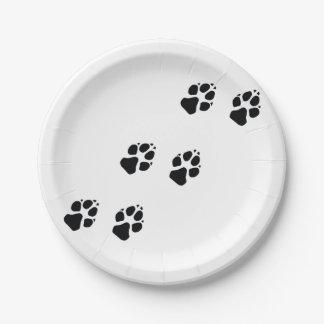 Prato De Papel Impressões da pata de um cão