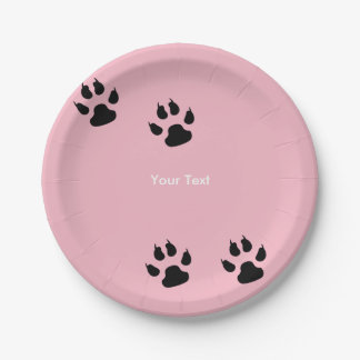 Prato De Papel Impressões grandes da pata do cão no rosa