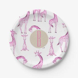 Prato De Papel Inicial cor-de-rosa da letra do monograma do chá
