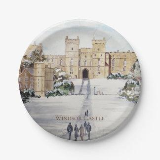 Prato De Papel Inverno na pintura de paisagem do castelo de